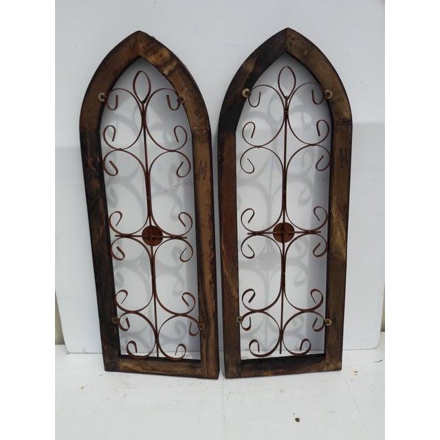 Pair Rustic Burnt Wood Shabby Garden Architectural Windows Shutters Cathedral Trellis For Sale - Image 4 of 6