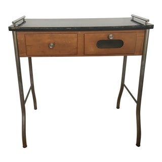 1950s Vintage Machine Age Tubular Chrome Lacquered Wood Top Desk For Sale