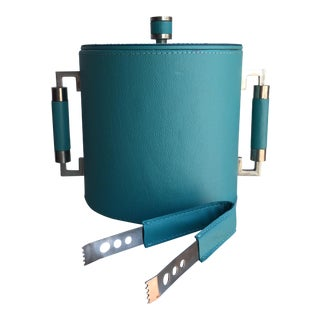 Global Views Teal Leather Party Ice Bucket & Tongs