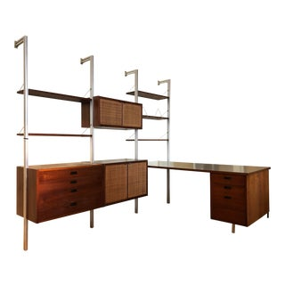 Mid Century Founders Vintage Walnut Wall Unit - 3 Bay Including Desk With File Cabinet For Sale