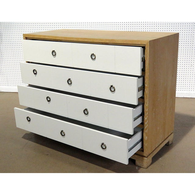 Mid-Century Modern white front wood 4 drawer chest.