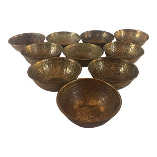 Early 20th Century Antique Middle Eastern Brass Bowls - Set of 10 For Sale