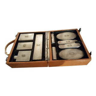 1930s Antique Goldsmiths and Silversmiths Silver & Gold Travel Set - 11 Pieces For Sale