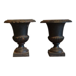 French Cast Iron Urns, Pair For Sale