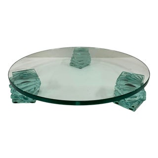 1980s Postmodern Round Art Glass Display Stand For Sale