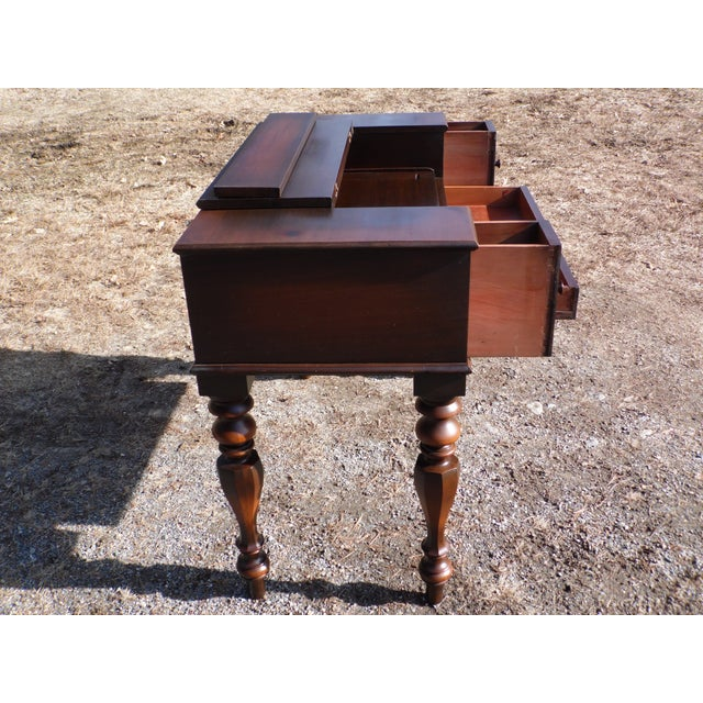 Antique Walnut Empire Flip Top Writing Spinet Desk Sofa Table For Sale - Image 5 of 12