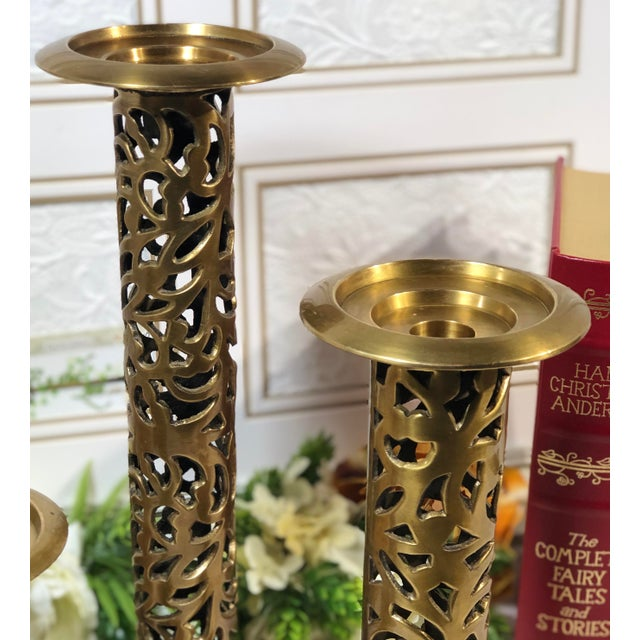 "Vintage Brass Heavy Candle Holders ""Filigree"" Tall Taper / Pillar Stand 3 - Set of 3 For Sale - Image 9 of 13"
