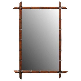 French 1920s Colonial Style Faux-Bamboo Mirror with Clear Glass