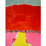 """Image of Abstract Bill Tansey """"Yellow Road"""" Landscape Painting Oil on Canvas For Sale"""