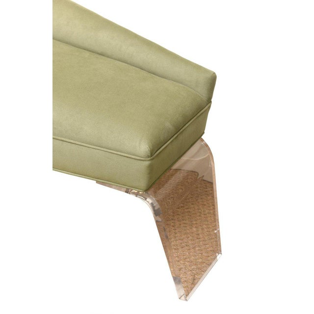 1980s Haziza Lucite and Upholstered Sculptural Chaise Lounge / Settee For Sale - Image 5 of 10