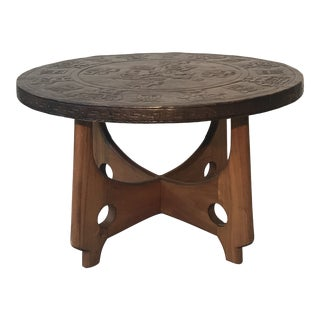 Mythological Hand Tooled Leather Top Table For Sale