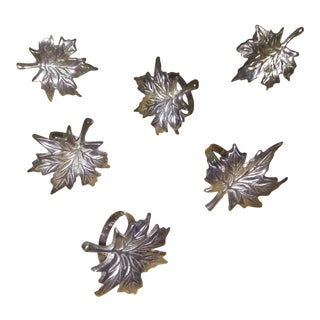 1940s Fall Leaf Silver Napkin Rings For Sale