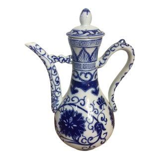 1970s Blue & White Porcelain Chinoiserie Tea Pot