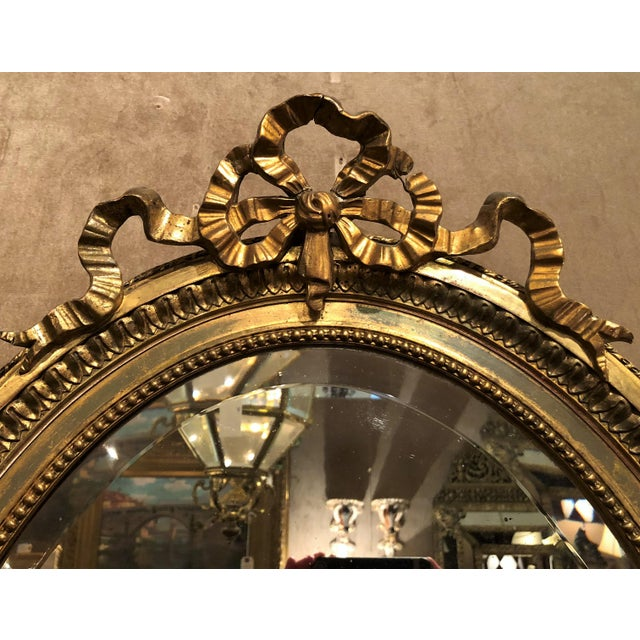 French Antique French 19th Century Louis XVI Style Gold Mirror with Beveling. For Sale - Image 3 of 4