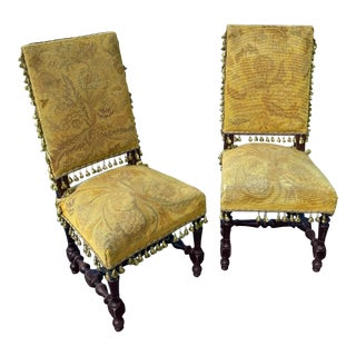 Late 19th Century French Needle-Point Side Chairs - a Pair For Sale