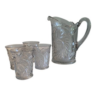 Vintage Clear Cut Brilliant 24% Lead Crystal Pitcher and Four Tumblers Set For Sale