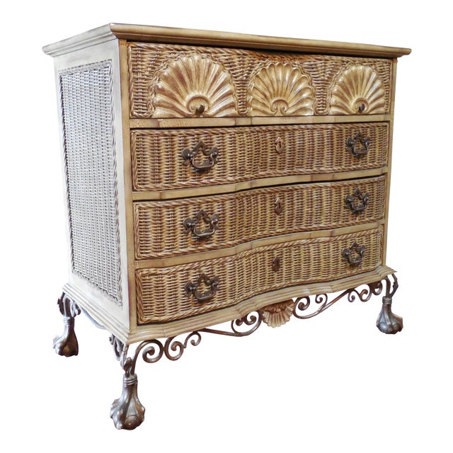 Block Front Chippendale Style Claw Footed Paint Distressed Shabby Chic Chest - Image 1 of 8