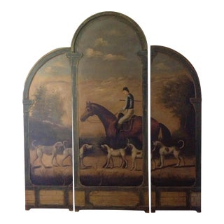 Horseback Hunting Scene 3-Panel Screen