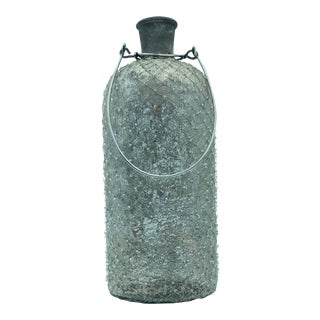 Decorative Smokey Vase With Metal Handle For Sale