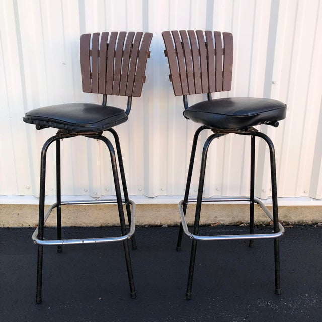 Black Swivel Bar Stools With Faux Wood Seat Backs - A Pair For Sale - Image 13 of 13