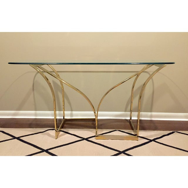 Vintage 1970s Brass & Glass Console Table - Image 2 of 9