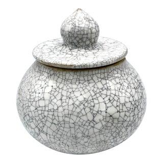 Studio Pottery Signed Crackle Glaze Lidded Ginger Jar For Sale