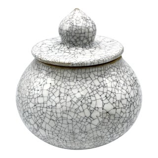 Studio Pottery Signed Crackle Glaze Lidded Ginger Jar - Signed For Sale