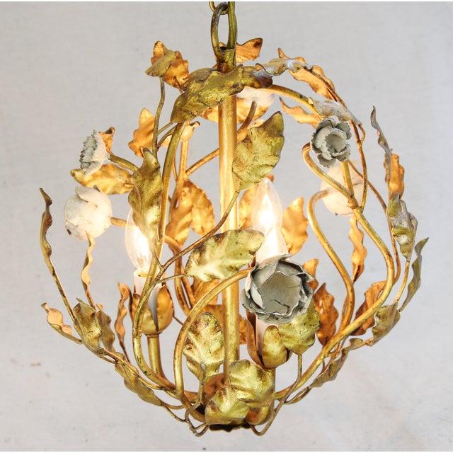 Vintage three armlight italian gold gilt ball tole chandelier vintage three armlight italian gold gilt ball tole chandelier image 7 of mozeypictures Image collections