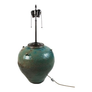 1950s Large Green Glazed Art Pottery Lamp For Sale