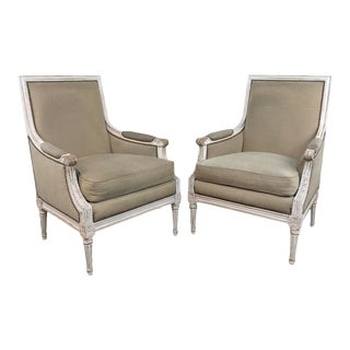 19th Century French Louis XVI Bergeres- A Pair For Sale