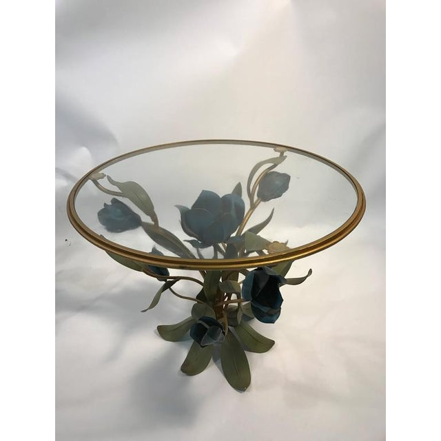 BEAUTIFUL PAIR OF MIXED- METAL SIDE OR ACCENT TABLES WITH FLOWER AND LEAF DESIGN For Sale - Image 4 of 8