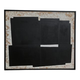 """""""Golden Daylight"""" Contemporary Abstract Black and White Painting, Framed For Sale"""