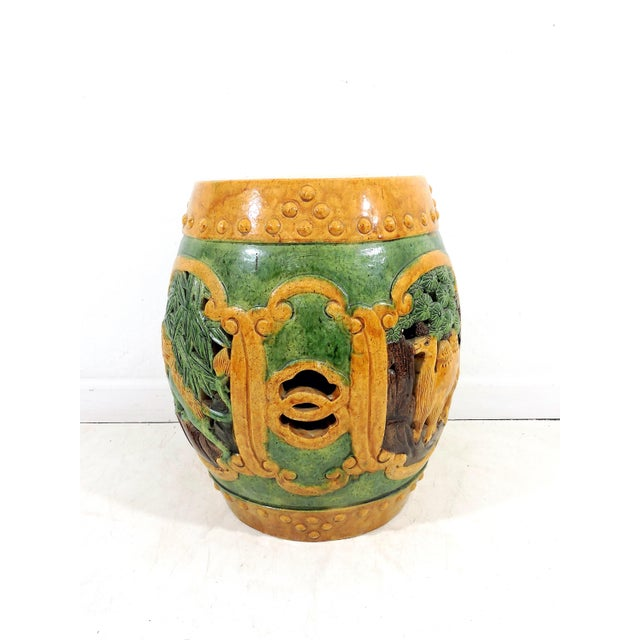 Antique Chinese Sancai Glazed Ceramic Garden / Drum Stool or Side Table (Lion, Camel & Panther) For Sale - Image 4 of 8