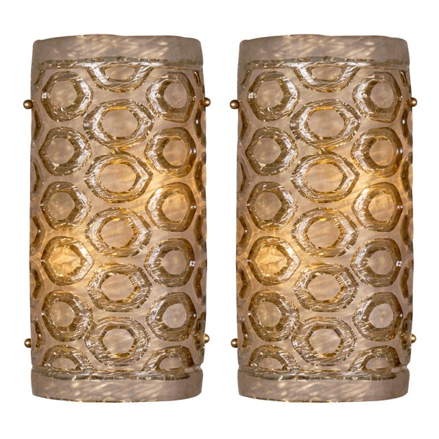 Modernist Murano Glass Stamped Sconces - a Pair For Sale - Image 10 of 10