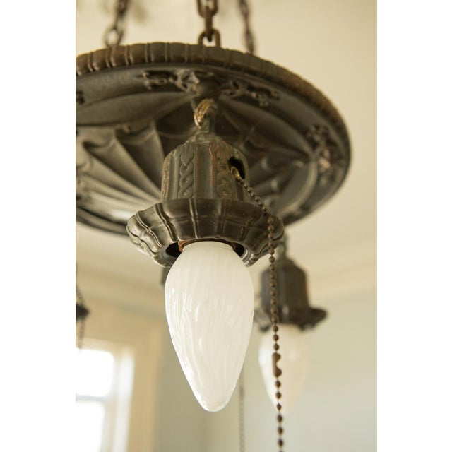 Pair of Two Victorian Original Flush Mount Chandelier - Image 4 of 8