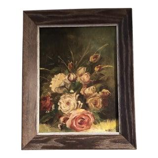Vintage Original Floral Still Life Painting With Roses Mid-Century Signed Modernist Frame For Sale