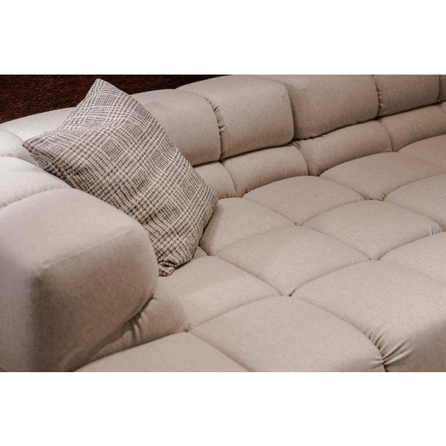 2010s B&b Italia Heathered Ivory Wool Blend Upholstered Tufty-Time Sectional For Sale - Image 5 of 6