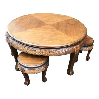 20th Century Asian Antique Coffee Table With Stools - 5 Pieces For Sale