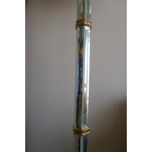 Paul Marra Brass and Beveled Mirror Floor Lamp For Sale - Image 4 of 7