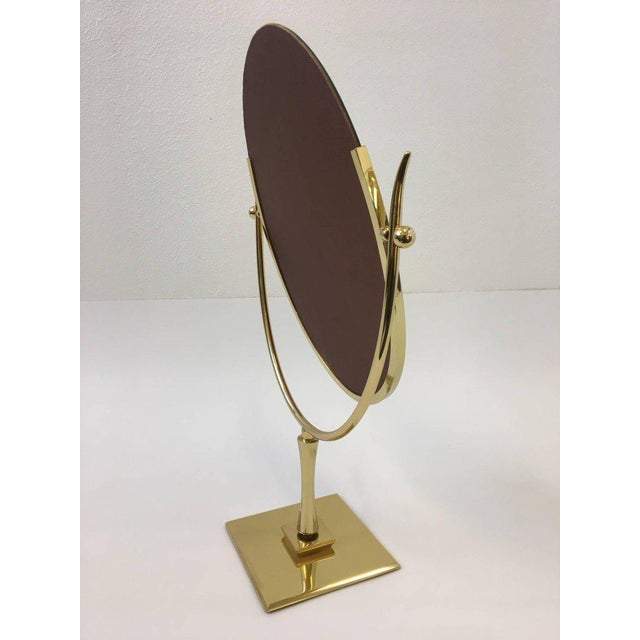 Modern Polish Brass and Leather Vanity Mirror by Charles Hollis Jones For Sale - Image 3 of 11