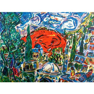 "Impressionist Amos Yaskil ""Red Mountain"" Signed & Numbered Art Lithograph, Judaic Art For Sale"