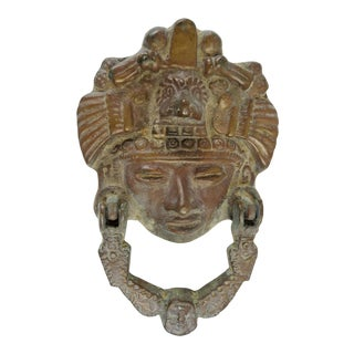 Large Brass Aztec Mask Door Knocker For Sale