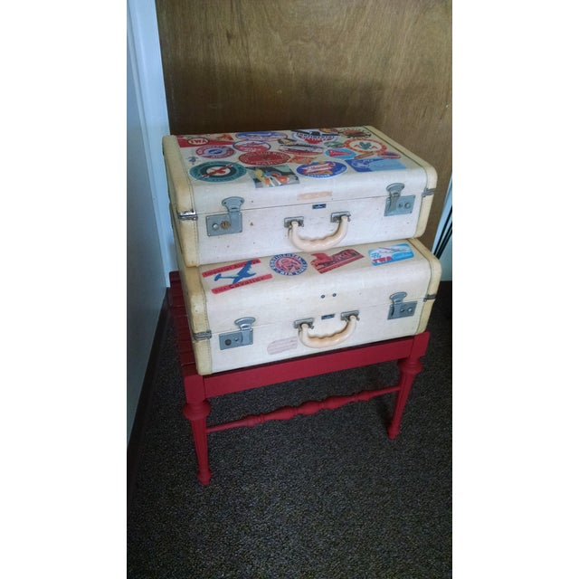 Vintage Suitcase Storage Accent Table - Image 9 of 9
