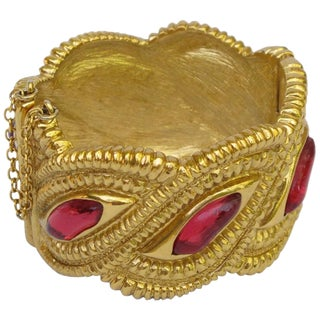 Jean Louis Scherrer Paris Signed Massive Jeweled Clamper Bracelet For Sale