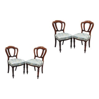 English Victorian Mahogany Balloon Back Chairs - Set of 4