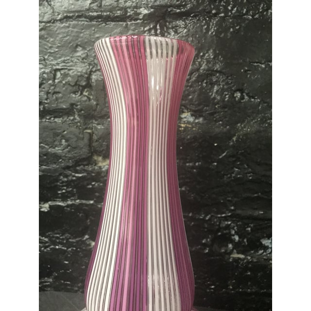 Tall Mezza Filigrana Hot Pink and White Striped Murano Vase Attributed to Aureliano Toso For Sale - Image 12 of 13