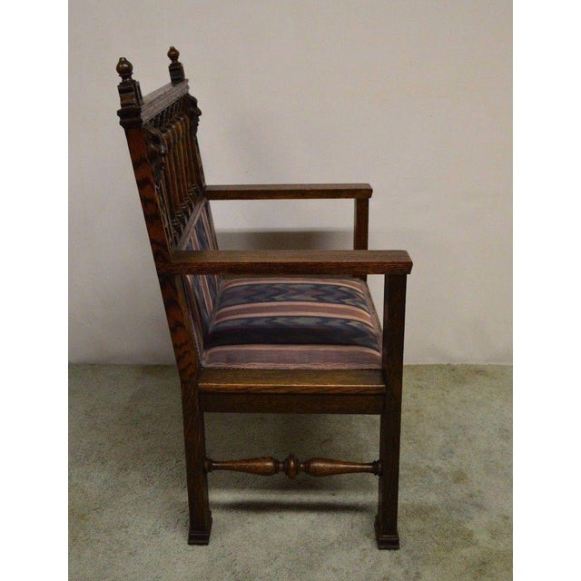 Antique Wind Man Carved Oak Library Armchair - Image 6 of 11