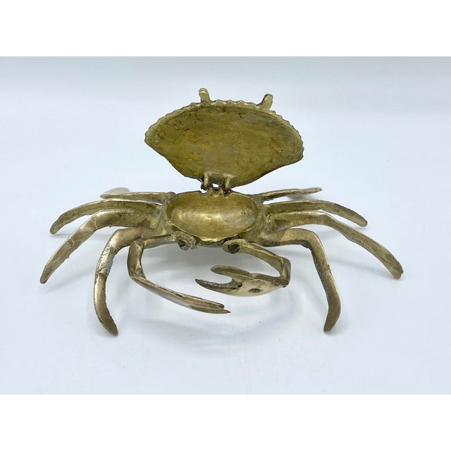 Contemporary Mid-Century Brass Crab Ashtray With Hinged Lid For Sale - Image 3 of 7