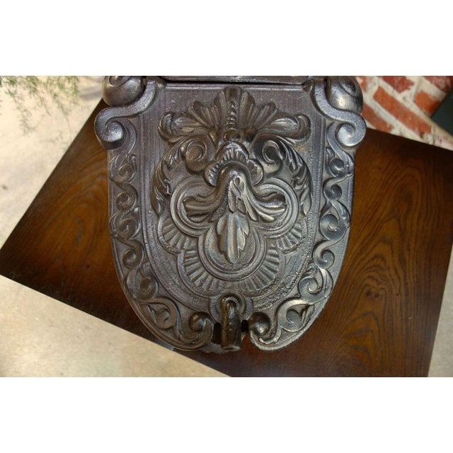 Metal Antique French Gothic Victorian Cast Iron Fireplace Coal Hod For Sale - Image 7 of 11