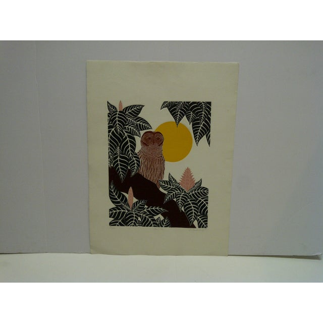 "Yellow G. Clark Sealy 1977 ""Chouette"" Print For Sale - Image 8 of 8"